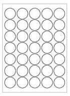 Round Stickers Sheet - White 3/4 inch - 35 per sheet