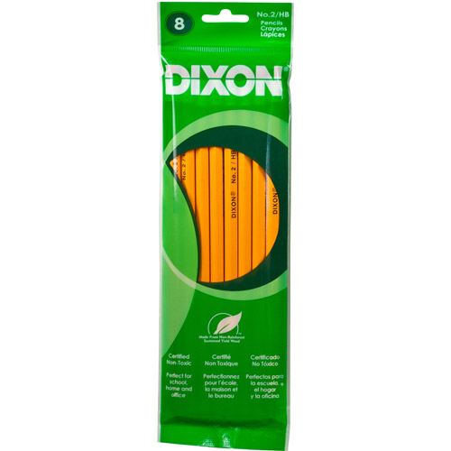 Dixon #2 Wood Pencils with Eraser 8 Pack