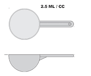 2.5cc / 2.5ml plastic scoop - Clear