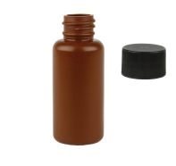 1 ounce (30ml) Brown Plastic Bottle with Lid