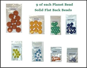 Solar System Planet Beads Set - Flat Back (for 9 students)