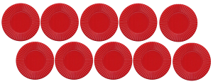 "Red Round Plastic Chips 7/8"" - 10 pack"