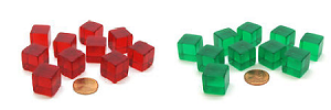 Transparent Blank Red or Green Dice
